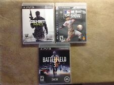 PLAYSTATION 3. LOT OF 3 GAMES. MLB SHOW 09-BATTLEFIELD 3-CALL OF D MW3. PREOWNED