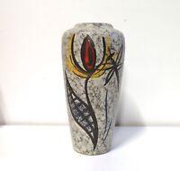 .Vintage German Pottery Marbled Glaze & Abstract Flower Design