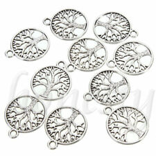 50pcs Tibetan 'tree of Life Circle' Charms Pendants for Jewelry Finding Ancient Gold