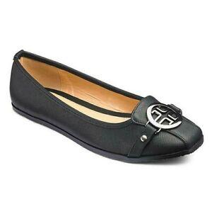 Womens Ballerina Shoes Size 4 Wide Fit Black Flat Low Heel Pumps Slip On Ladies