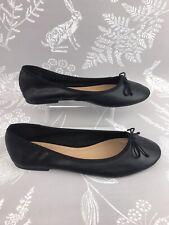 Topshop Size 6 Ladies Shoe Black Flat Ballet Pump Slip On Bow Faux Leather VGC