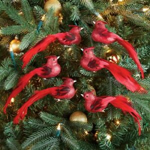 Set of 6 Sparkling Glittered Red Bird Christmas Tree Ornament Clips