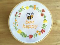 Bee Happy Cross Stitch Kit Beginner - Counted Cross Stitch Kits - Modern Quote