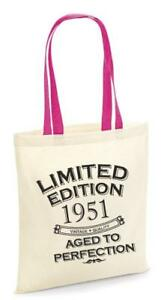70th Party Cotton Tote Bag Birthday Presents Gifts Year 1951 Shopper Shopping