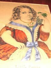 """WONDERFUL ANTIQUE CURRIER & IVES-""""LITTLE CARRIE"""" PRINT-NICE WOOD FRAME/GLASS"""
