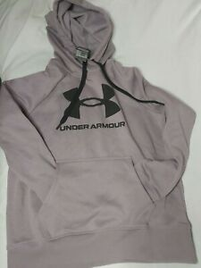 New womens small Under Armour Rival Fleece Logo Hoodie Warm-up Top Purple/Black