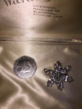 2 D Effect With C Clasp 1930's A Lovely Silver Tone Brooch Pin In