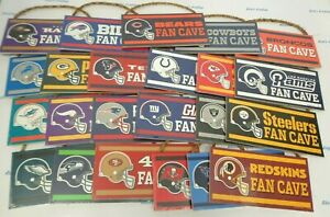 """NFL Fan Cave 10"""" x 5"""" .25"""" Hanging Rope Wood Sign by Wincraft"""