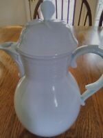 "A K Kaiser Teapot/Coffeepot West Germany White On White 10"" H 3 1/4"" D 1970s"