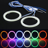 Pair 75mm LED COB Chip FOR Car Angel Eye Halo Ring Headlight Blue Light Cover UK