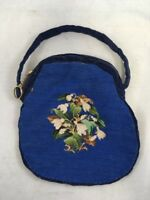 Vintage Blue Bag with Floral Embroidery Purse Hand Bag Cross Stitch