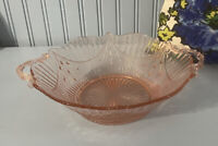"Vintage Pink Depression Glass Bowl With Handles Star Burst Swag 10"" Pretty!"