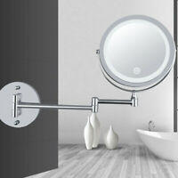LED 2 Sided Makeup Mirror Bathroom Wall Mount 10x Magnification Swivel Mirror