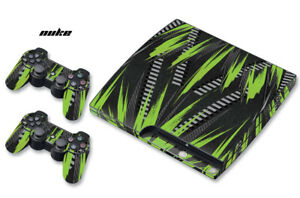 Skin Decal Wrap For PS3 Slim PlayStation 3  Console + Controller Nuke Green