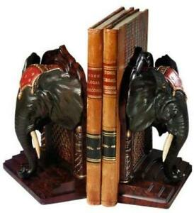 TRADITIONAL BOOKENDS BOOKEND ANTIQUE AFRICAN ELEPHANT RESIN HAND-PAINTED TH