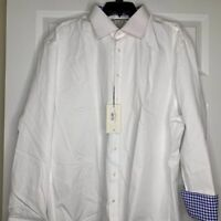 New Thomas Pink Slim Fit Mens Dress Shirt Flip Cuff Size 18-35.5 White