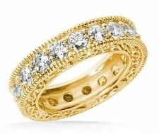 2.71 ct Antique Style Deco Round Diamond Ring Eternity Band 14k Yellow Gold