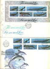 South West Africa SWA 1980 FDC 2 Covers Whales & Dolphins The Seas Must Live