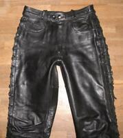 """fette """" POLO """" Damen- Schnür- LEDERJEANS / Bikerhose / Hose in schwarz in Gr. 40"""