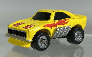 Vintage Micro Machines Dodge Charger Funny Car Yellow Red Flames Galoob 1986