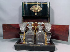 Antique EBONIZED WOOD Inlaid TANTALUS SET Old DECANTER Victorian Glass BAR SET