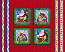 SANTA FABRIC 4 pillow panel JIM SHORE FABRIC CHRISTMAS PILLOW PANELS NEW