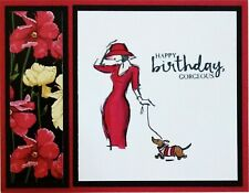 Birthday Card Stampin Up Fashion Lady With Dog Handmade Red Yellow Floral