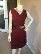 The Limited Deep Red Burgundy Pleated Dress Size Extra Small EUC