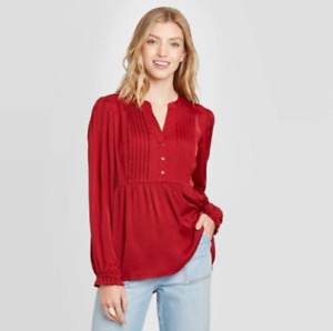 Women's Balloon Long Sleeve Blouse - Knox Rose; Red S