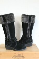 BLACK SUEDE WEDGE HEEL KNEE HIGH BOOTS SIZE 6 / 39 BY SHUROPODY USED CONDITION