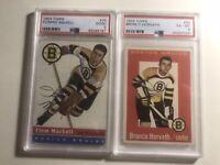 Lot: 1954 Topps PSA 2 Fleming Mackell & 1959 Topps PSA 6 Bronco Horvath Bruins
