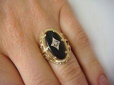 ELEGANT ONYX AND DIAMOND FILIGREE LARGE LADIES RING 4 GRAMS SIZE 6.5. 10K GOLD