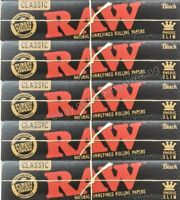Raw King Size Black Rolling Papers Hemp Kingsize Paper Set 5 Booklets