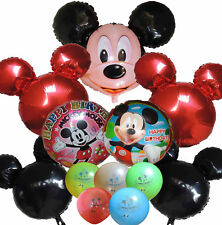12PCS RED & BLACK MICKEY MOUSE HEAD HAPPY BIRTHDAY BALLOON PARTY CENTERPIECE