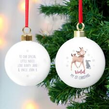 Personalised Baby's 1st Christmas Bauble Festive Fawn & Bunny Scene, Boy or Girl