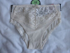 New Per Una Ladies Lingerie Low Rise Brazilian Brief Cream Size 12