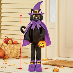 Extendable Trick-Or-Treat Witch Kitty Cat Halloween Porch Welcome Greeter