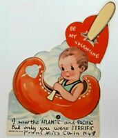 I SAW THE ATLANTIC & PACIFIC YOU WERE TERRIFIC Valentine Card Vtg 40s Love Boat