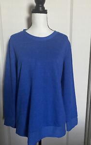 Adidas Women  Sweater Comfy Crew Neck Sweatshirt Azur Blue NWT Sz L