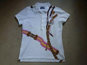 RALPH LAUREN Ladies THE SKINNY POLO Stirrup Print White T-Shirt Size M (UK 12)