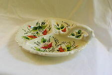 Lovely Hand Painted 3-Section Handled Serving Dish~ITALY~Excellent Condition