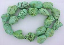 "15"" Strand Large Green Yellow Blue Magnesite Turquoise Nugget Bead Gem Gemstone"