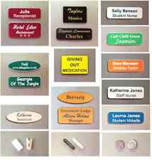 Business personalised engraved name badges Magnet - pins - croc clip fitting
