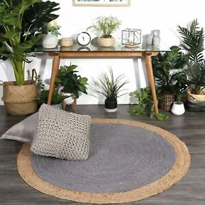 Jute Round Rug Natural Jute Carpet Reversible Braided 4x4 Feet Style Rustic Look