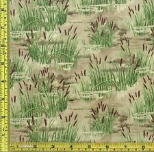 Lazy Afternoon Small Cattail Reeds Water Wilmington Cotton Brown Fabric BTQY