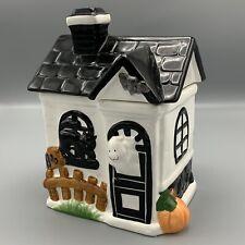 King May Haunted Halloween Ghost House Ceramic 3D Cookie Jar Spooky Black Cat