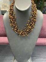 "Vintage Bohemian 16 "" Amber Colored Multi Strand beaded Bib Statement necklace"