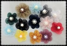 """1"""" Organza Flowers with 5 Petals Applique Sewing Craft lot of 100 Mixed Colors"""