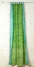 "108"" Light Green Turquoise SARI Curtain, Window Curtain,Bohemian printed glitter"