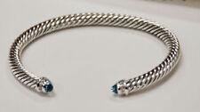 David Yurman Cable Classic Bracelet with BLUE TOPAZ  and Diamonds 5mm